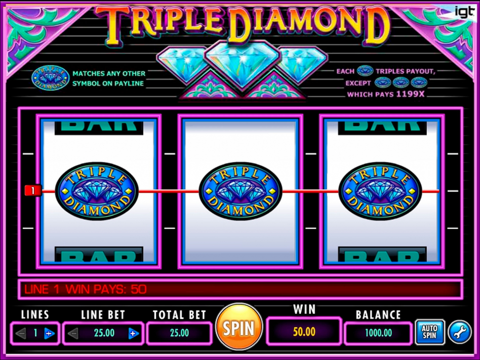 Triple Diamond играем онлайн в казино Вулканбет на сайте вулкан-бет.com.ua